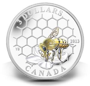 1/4 OZ FINE SILVER COIN 2013 BEE & HIVE ANIMAL ARCHITECTS