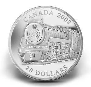 2008 Silver/argent canada Locomotives #1 .9999 1 oz