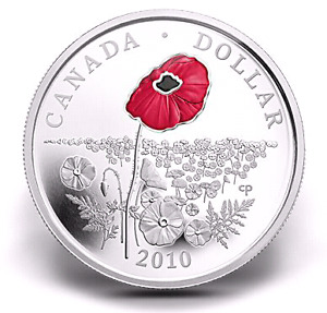 "2010 ""RED POPPY"" SILVER COIN - CANADA Remembrance Day"