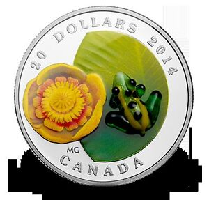 Fine Silver Coin Water-lily and Venetian Glass Leopard Frog 2014