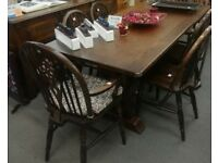 Dining table, sideboard and chairs