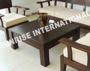 Sheesham wood wooden center coffee table square ebay for Furniture tipoi design