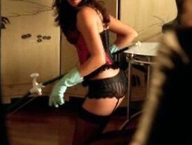 Female cleaner in Underwear
