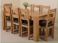 Kuba Chunky Solid Oak 180 cm Dining Table with 8 Lincoln Oak & Leather Chairs