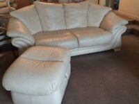 3 + 2 Seater Leather Sofa + 2 x pouffe with storage. Smoke free / Pet free home