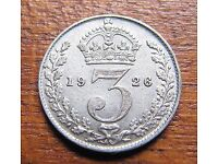 Silver Threepence coins £1