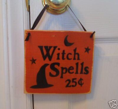 WITCH SPELLS Door Hanger Rustic Happy Halloween Sign U-Pick Color Wood Plaque HP - Halloween Coloring Door Hangers