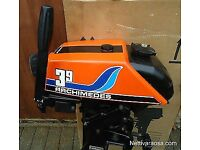 ARCHIMEDES 3.9HP OUTBOARD / AIR COOLED / 2 STROKE / SERVICED / ENGINE STILL PULLS LIKE A TRAIN! VGC!