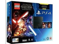 NEW Playstation 4 500gb black bundle with lego star wars game + force awakens blu-ray