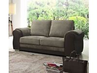 3 Seater Sofa Soft Grey Fabric and Black Leather 3+2 and Corner Sofa Chair Armchair