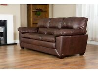 Leather three seater sofa chocolate brown