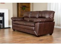 QUALITY CHOCOLATE BROWN LEATHER SOFAS 2 SEATER (£125) 3 SEATER (£175)