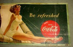 Antique large Coca Cola cardboard advertising sign London Ontario image 3