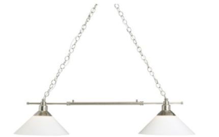 Pendant lamp-double, nickel plated, glass (still in box)