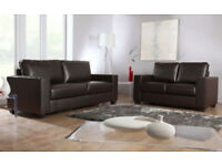 BRAND NEW LEATHER 3+2 SOFA BLACK OR CHOCOLATE BROWN 49722