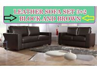 BANK HOLIDAY SMART SALE LAST FEW SETS LEATHER SOFA SET 3+2 AS IN PIC black or brown BRAND NEW