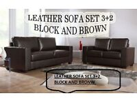 BANK HOLIDAY SALE LAST FEW SETS LEATHER SOFA SET 3+2 AS IN PIC black or brown BRAND NEW