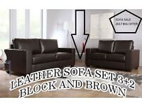 BANK HOLIDAY:: SALE LAST FEW SETS LEATHER SOFA SET 3+2,, AS IN PIC black or brown BRAND NEW