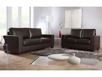 3+2 BRAND NEW next day chocolate BROWN LEATHER SOFA SET