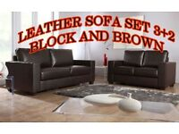 BANK HOLIDAY BIG SALE LAST FEW SETS LEATHER SOFA SET 3+2 AS IN PIC black or brown BRAND NEW