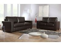 sofa 3+2 Italian leather sofa brand new black or brown FREE POUFFE WHILE STOCKS LAST