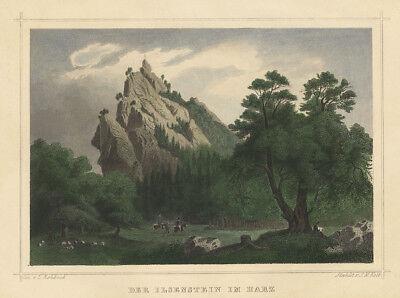 Ilsestein : Der Ilsenstein im Harz (Sachsen-Anhalt). - Kol. Stahlstich, um 1850