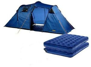 Family tent with two double air mattress