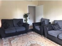 Black and grey contemporary Sofa suite 3 seaters 2 seaters and armchair from ScS