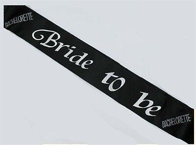Bachelorette Party BRIDE TO BE SASH BLACK Fun Bridal Shower - Black Bachelorette Party