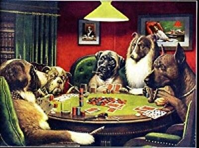 CLASSIC DOGS PLAYING POKER POSTER man cave decor wall art 30x20 inches
