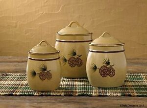 New Primitive Country Rustic Cabin Lodge PINE Cone Flour Sugar Canister Set