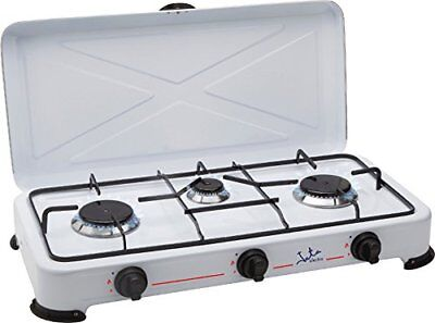 Cocina de Gas Jata CC706 Esmaltado Blanco Hornillo 3 Fuegos Ideal Camping