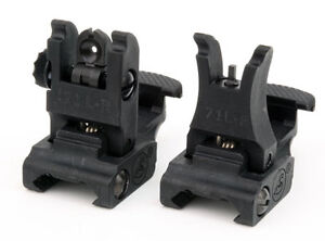A-R-M-S-71L-SET-Front-and-Rear-Flip-Up-Back-Up-Poly-Iron-Sights-5-56-223-NEW