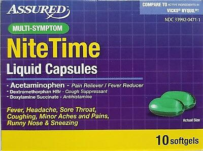 Cold Flu Relief Multi Symptom Nite Time Liquid Capsules 10 Softgels