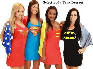 Juniors-DC-Comics-Superman-Wonder-Woman-Batman-Robin-Superhero-Hero-Tank-Dress
