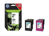 HP 301 Pack of 2 Cartridges - 1 Black Ink and 1 of Three Colors (Genuine Cyan, Magenta, Yellow)
