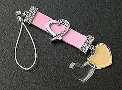 New Pink Leather Strap Crystal Heart Dangle Photo Cell Phone Charm Free Shipping Heart Cell Phone Pendant