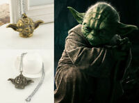 Gun Metal Black Star War Master Yoda Head Pendant Necklace