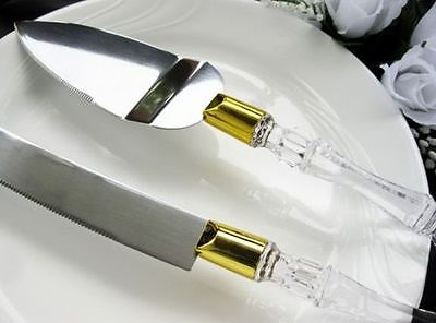 Wedding Cake Knife and Server Set with Acrylic Handle with gold ring