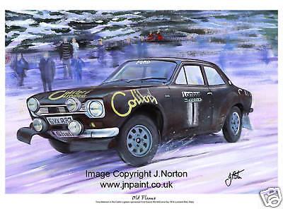 A3 ART PRINT - TIMO MAKINEN - FORD ESCORT RS1600 - RAC RALLY 1974