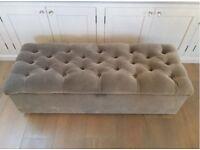 The White Company Richmond Blanket Ottoman Box in SILVER GREY Velvet