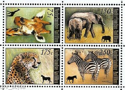 AFRICAN ANIMALS SET OF 4 STAMPS MNH 2008 NETHERLANDS ANTILLES ZEBRA GIRAFFE