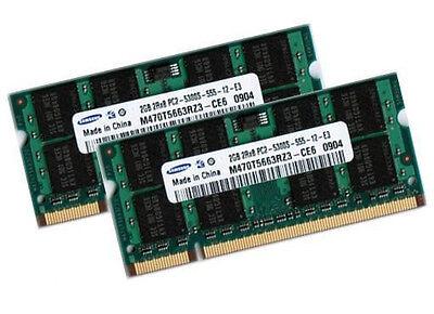 2x 2GB Samsung 4GB DDR2 667 Mhz Notebook Arbeitsspeicher RAM SO DIMM PC2-5300S