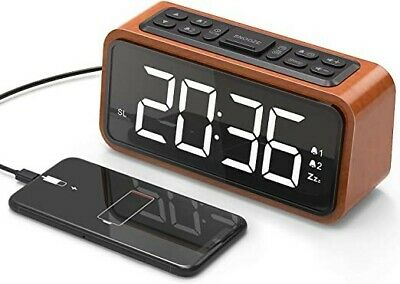 FM Radio Alarm Clock, Koosin Large LED Display Wood Digital Alarm Clock