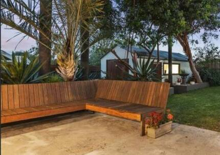 Large Outdoor Wooden Bench Seat L-Shaped