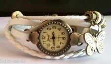 DUAL HEART VINTAGE RETRO BEADED BRACELET LEATHER WOMEN WRIST WATCH - WHITE