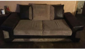 3 seater fabric sofa/couch/suite brown beige