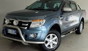 2013 Ford Ranger PX XLT Double Cab Blue 6 Speed Manual Utility Hobart CBD Hobart City Preview