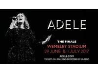 2 X Seated Adele Tickets 01/07/17 - Wembley Stadium - Block 109