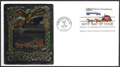 Usa Fdc Cover 1975  200 Years Postal Service  Horse Carriage Truck  Foil Cachet